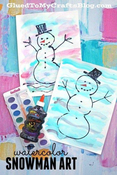#gluedtomycrafts Mixed Media Colorful Watercolor Snowman Kid Craft Idea - Black Glue Snowmen Art Project
