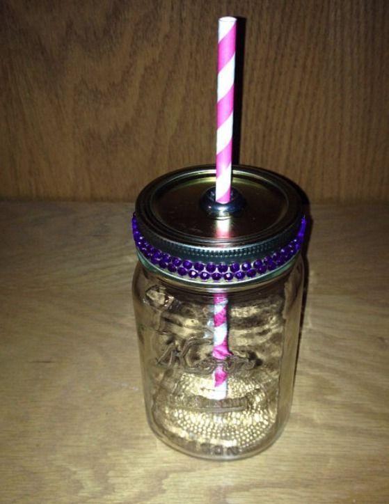 Rhinestone Pint Size Mason Jar Travel Cup with Vintage Straw | eBay