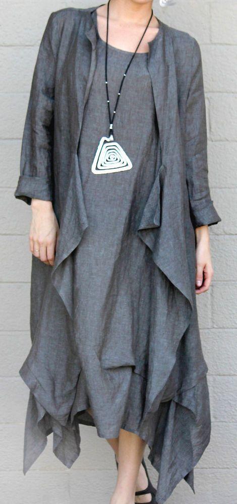 Vintage black linen asymmetric over sized chic jacket.