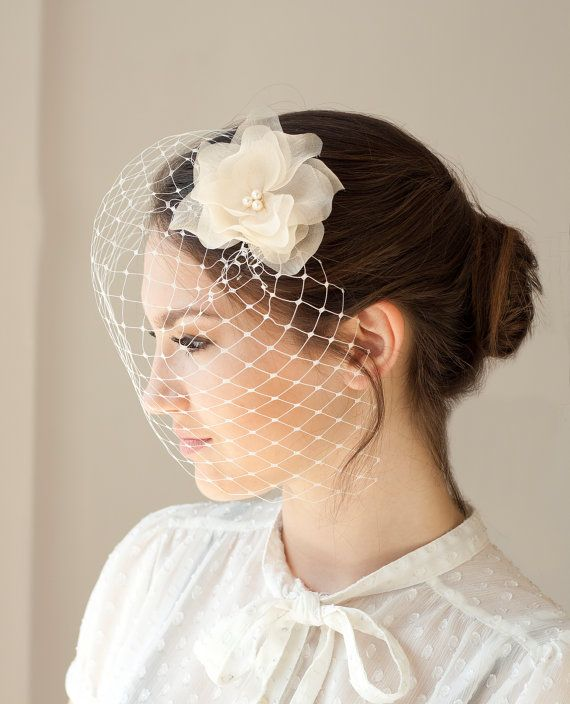 Flower Wedding Headpieces: Bridal Veil With Silk Flower Wedding By BeChicAccessories