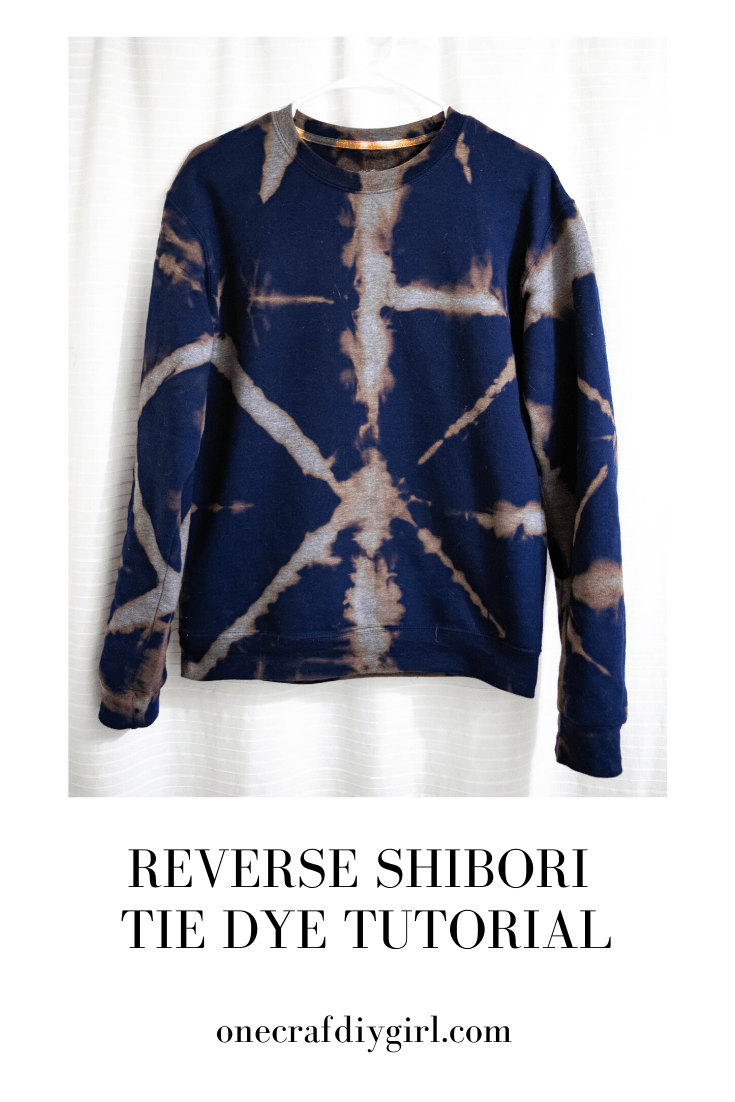 Reverse Tie Dye Sweatshirt Using The Shibori Method One Crafdiy Girl Shibori Tie Dye Tie Dye Tutorial Tie Dye Sweatshirt [ 1102 x 735 Pixel ]