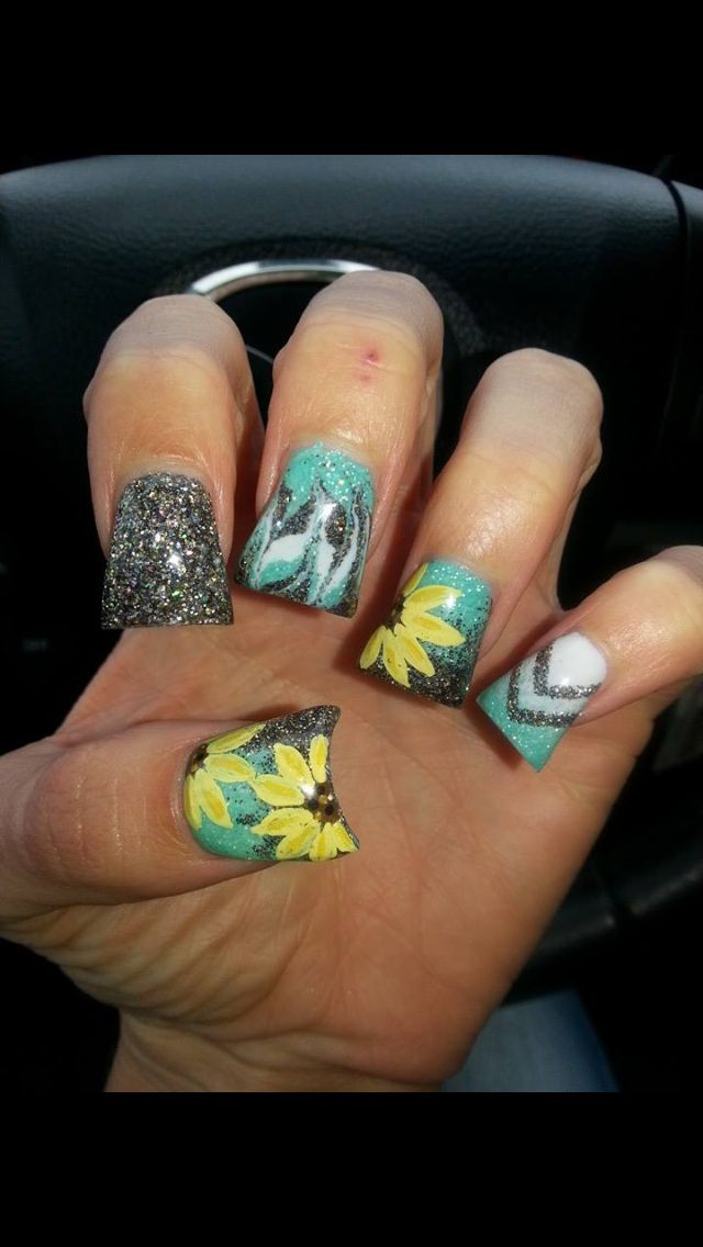 Sun flowers | Nails | Pinterest | Flowers, Spring nails and Nail nail