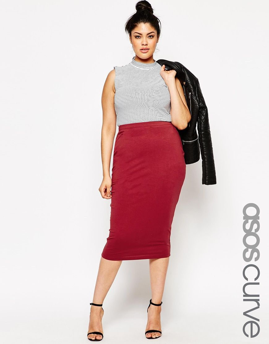 e5f3fc35e2 ASOS+CURVE+Midi+Pencil+Skirt+In+Jersey | Outfits | Faldas tubo ...