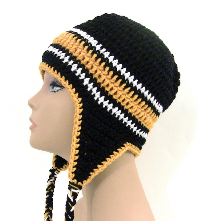 boston bruins crochet items   Black and Gold Crochet Earflap Hat ...