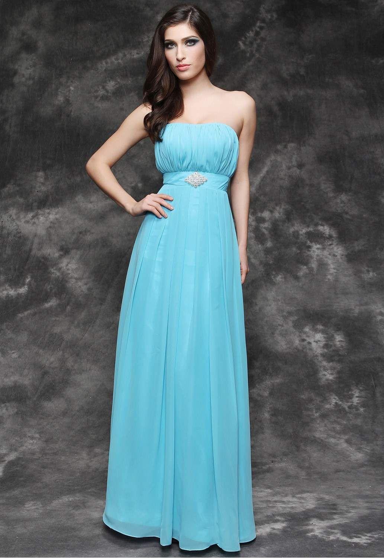 Green bridesmaids dress  Delightful ALinePrincess Strapless Empire FloorLength Chiffon