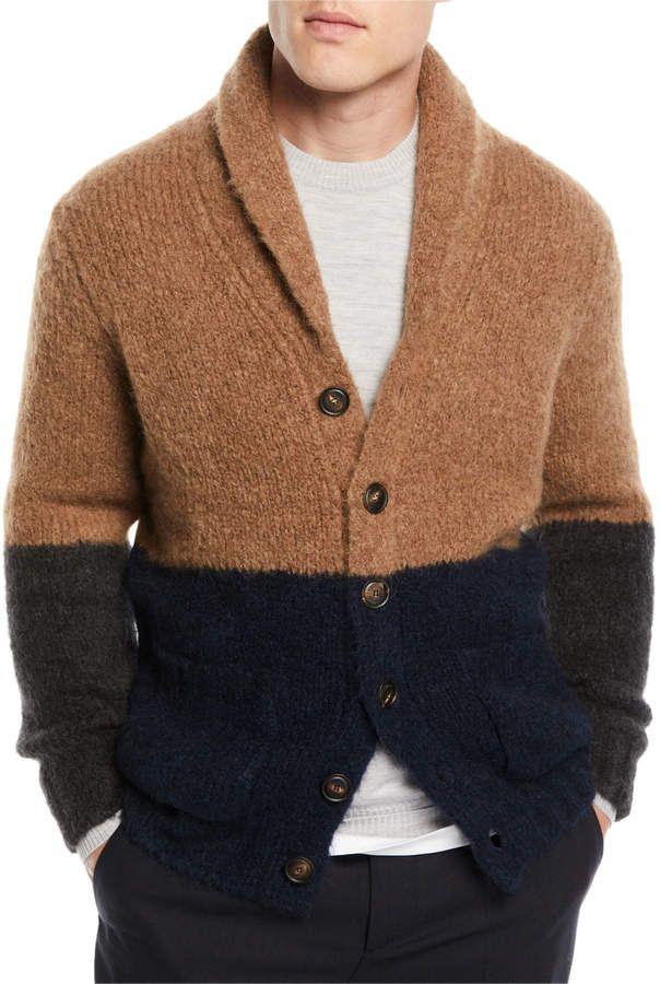 Brunello Cucinelli Mens Colorblock Shawl Collar Cardigan