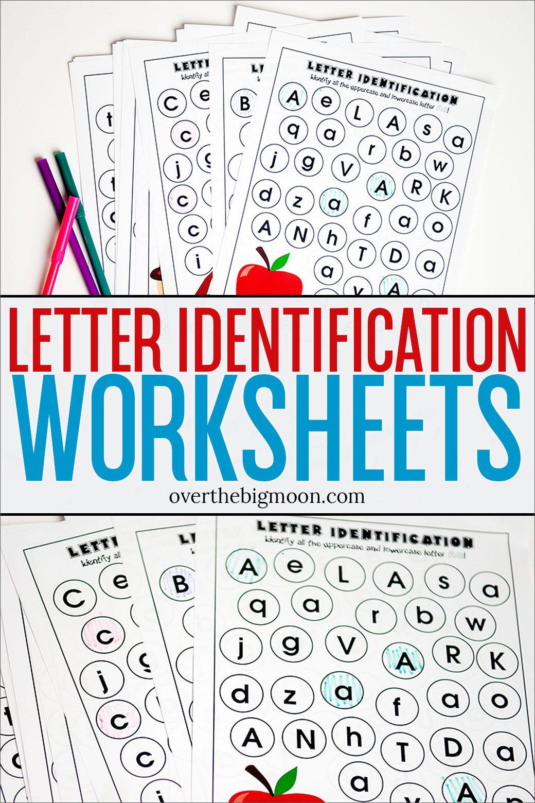 Letter Identification Printables Overthebigmoon Com Letter Recognition Worksheets Letter Identification Worksheets Letter Recognition Preschool