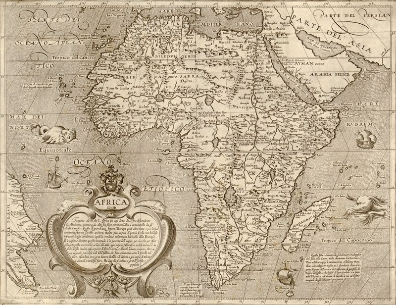 This great antique 16th century map of Africa can really transform a room, both in the home or office.  Complete with sea monsters and sailing ships t...