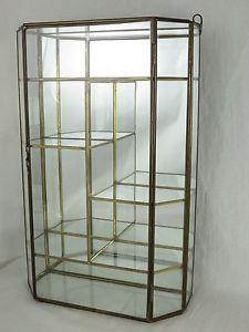 Vintage -brass glass curio cabinet display case door mirror -wall ...