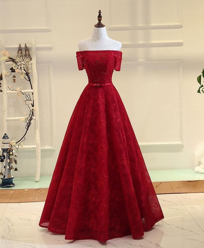 BurgundyA Line Lace Long Prom Dress, Burgundy Even