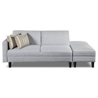 Luck Fabric Futon With Storage Ottoman Silver