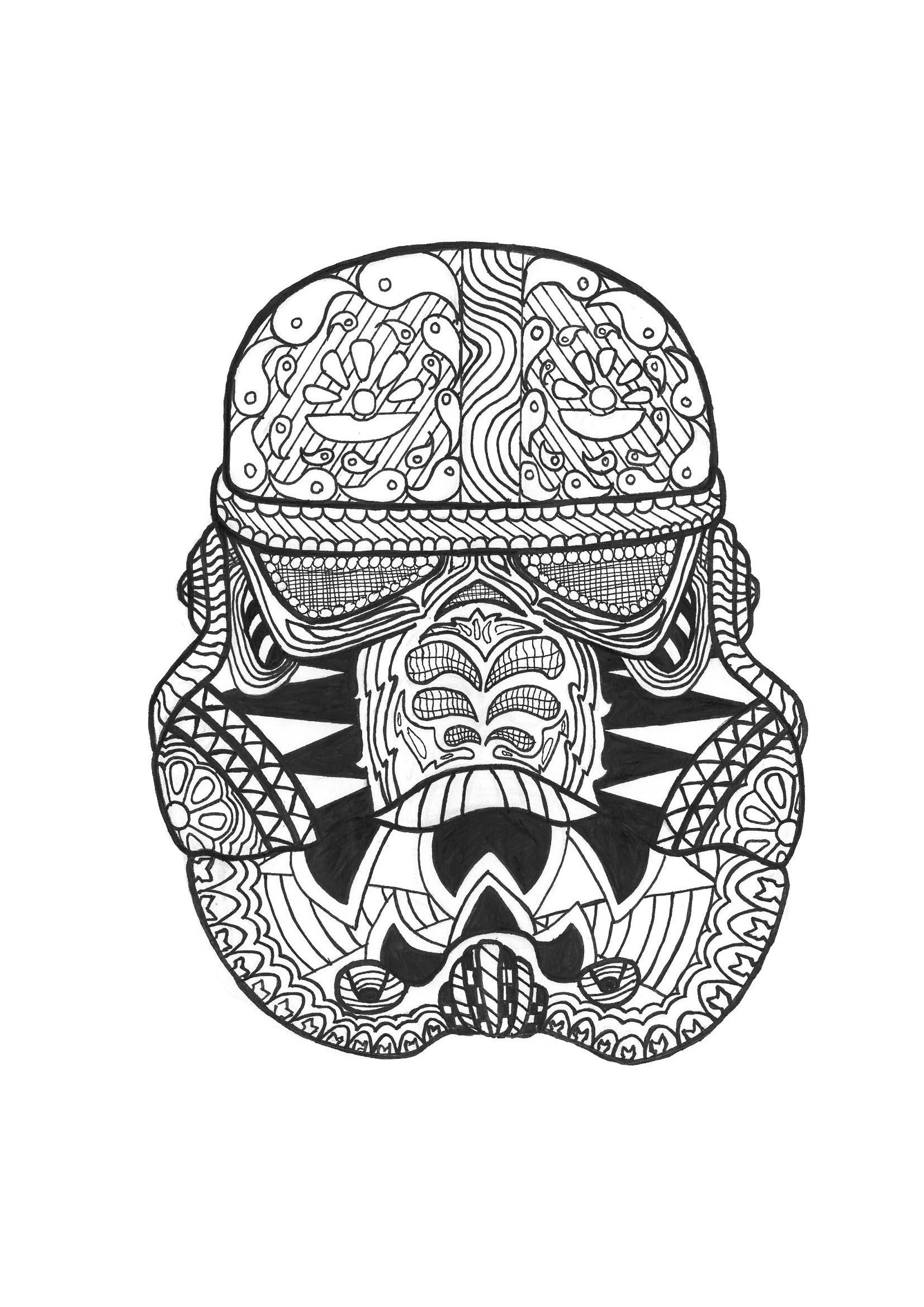 Zen stormtrooper Zen and Anti stress Coloring Pages for