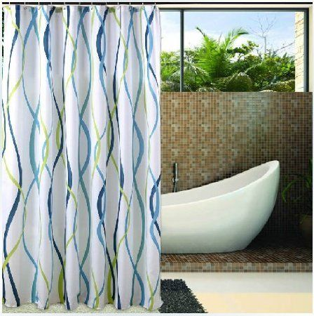 Eforgift Decorative Striped Print Shower Curtain Polyester Bath Fabric Waterproof Mildew Free 72 Inch By Blue White