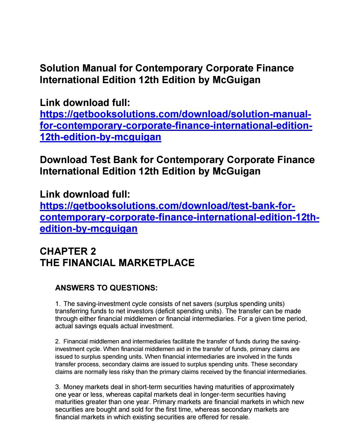 Solution manual for contemporary corporate finance international edition  12th edition by mcguigan   solution manual   Pinterest