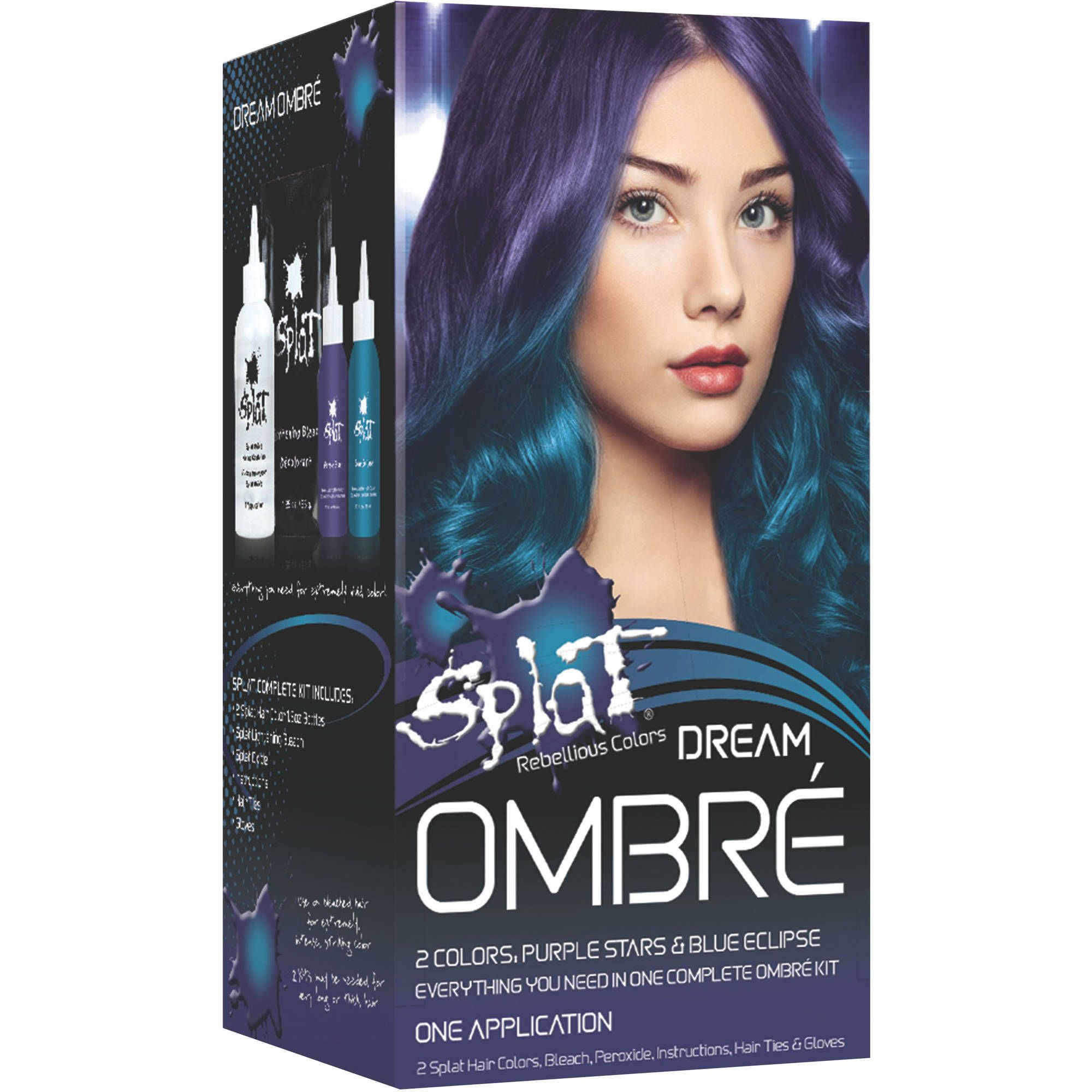 Splat Complete Kit Ombre Dream Semi Permanent Blue Purple Hair Dye With Bleach Walmart Com In 2020 Splat Hair Color Semi Permanent Hair Dye Semi Permanent Hair Color