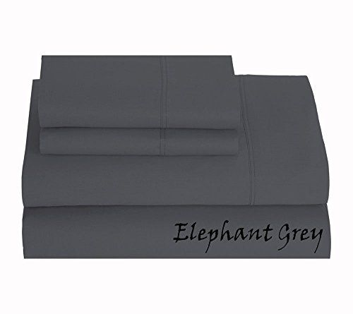 Luxurious Finish 600 Thread Count Comfortable Sleeper Sofa Bed Sheet Set Pure Egyptian Cotton Queen 60 X 74 Elephant Gray Solid 6 Inches