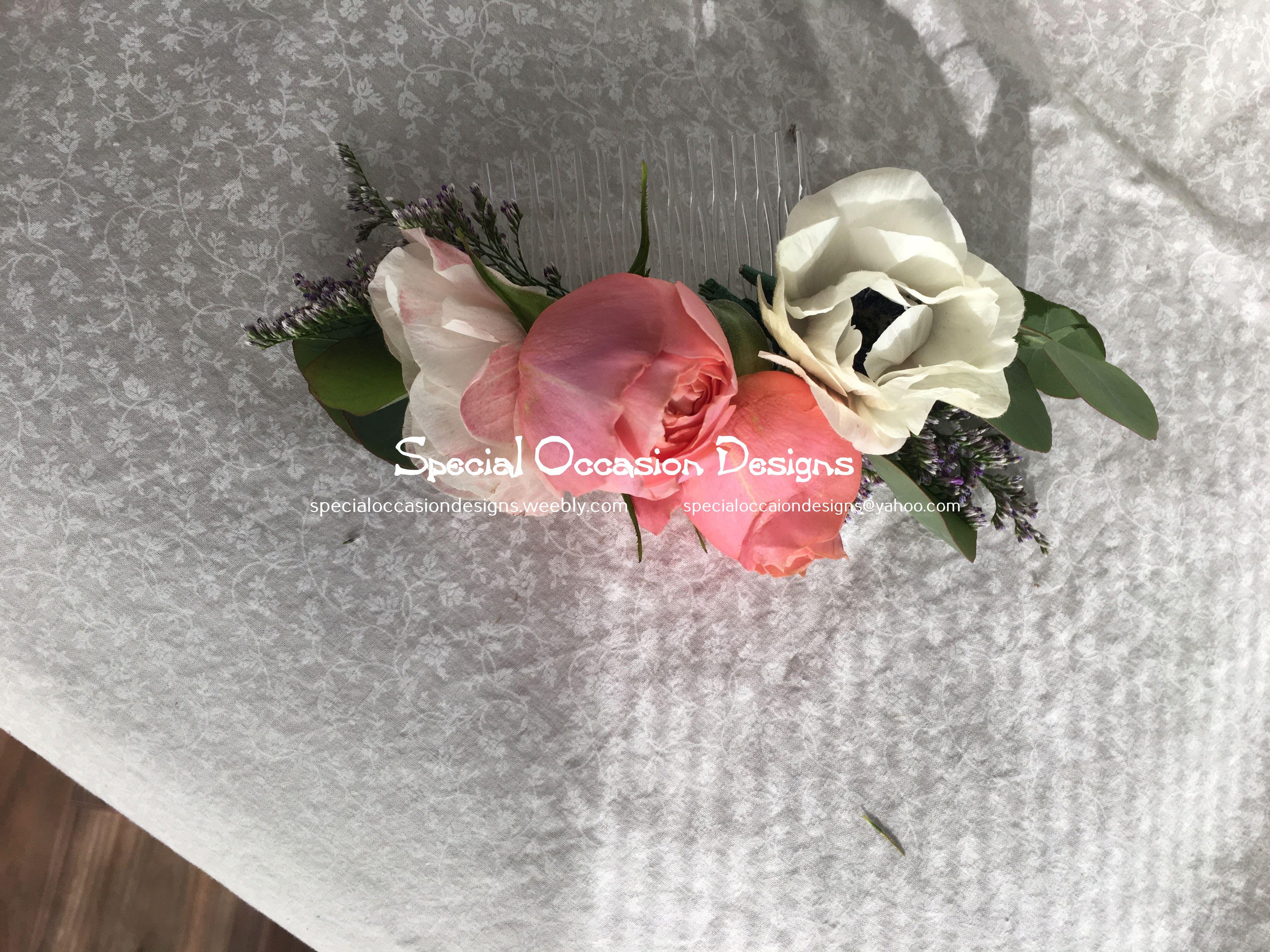Bride floral comb