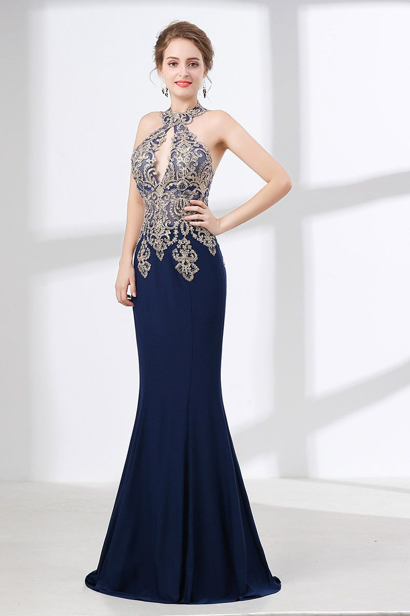 Halter tight mermaid prom dress navy blue with applique lace ch
