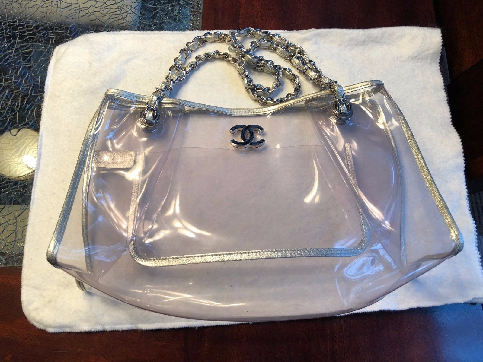 Authentic CHANEL Clear Vinyl Shoulder Bag Silver Chain Silver Leather-RARE!
