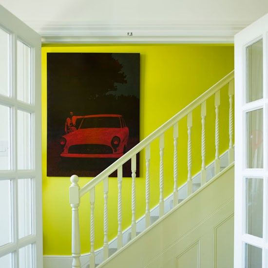 Acid yellow hallway, white woodwork | House Decor | Pinterest ...