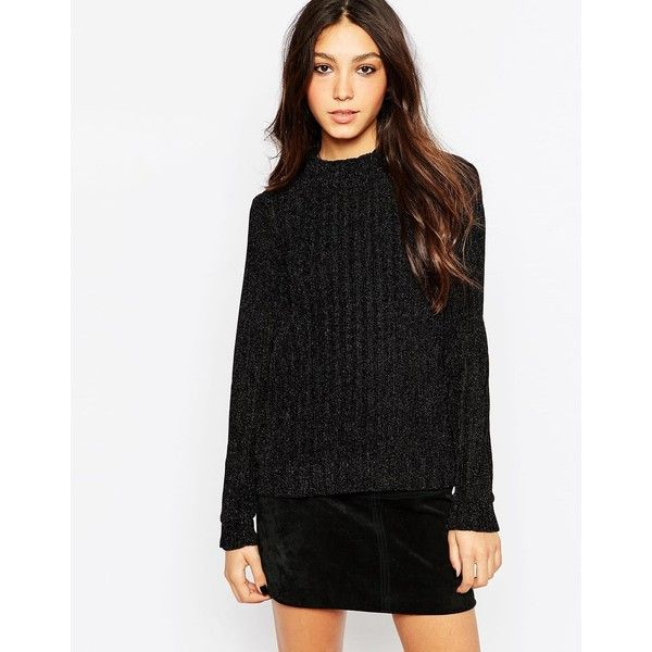 Minimum Turtleneck Chunky Knit Sweater featuring polyvore, women's fashion, clothing, tops, sweaters, black, black top, crewneck sweater, black turtleneck, ribbed sweater and turtleneck sweater