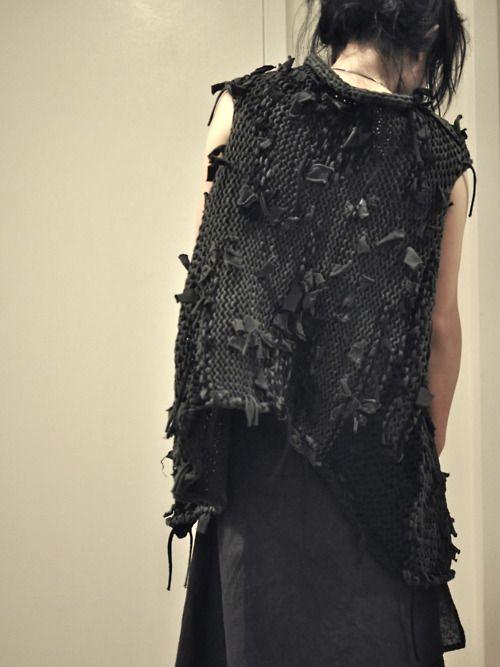 Label Under Construction Reversible Cotton Gillet :: k.n.i.t  Cool textural vest !