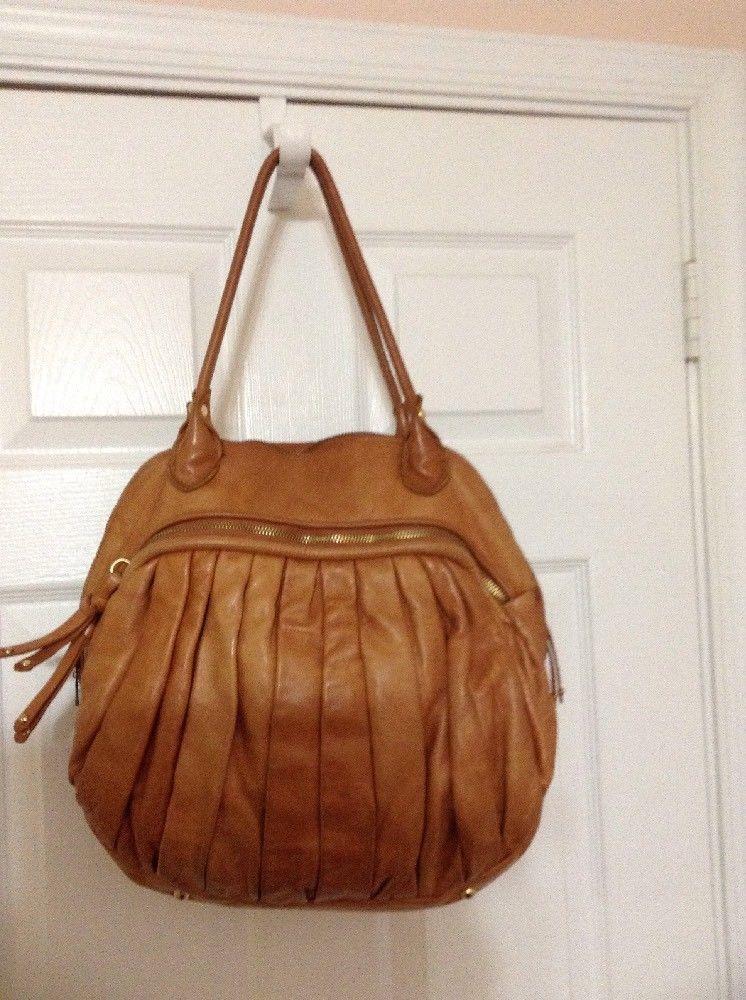 Sabina New York Women s Tan Leather Bowler Handbag Extra Large XL ... 502953ba29dfd