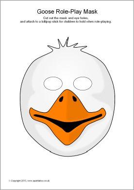 Goose mask masque tuto pinterest masque a imprimer masque et le vilain petit canard - Masque canard a imprimer ...