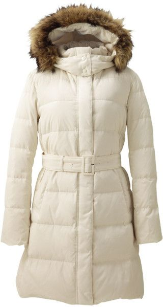 Uniqlo White Women Down Coat - my first white and belted down coat