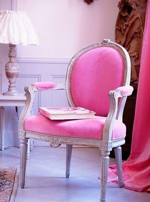 pink chair & curtains