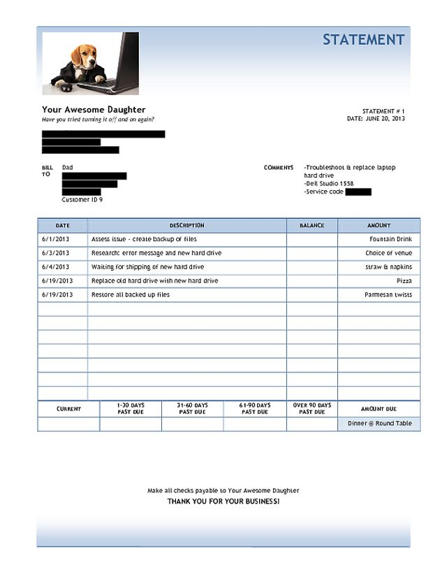 Daughter Sends Her Dad a Funny Invoice For Fixing His Laptop - fake invoice