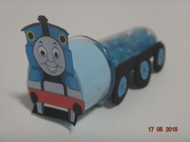 Mini tubete decorado de Trem Thomas  <br>* as balinhas não