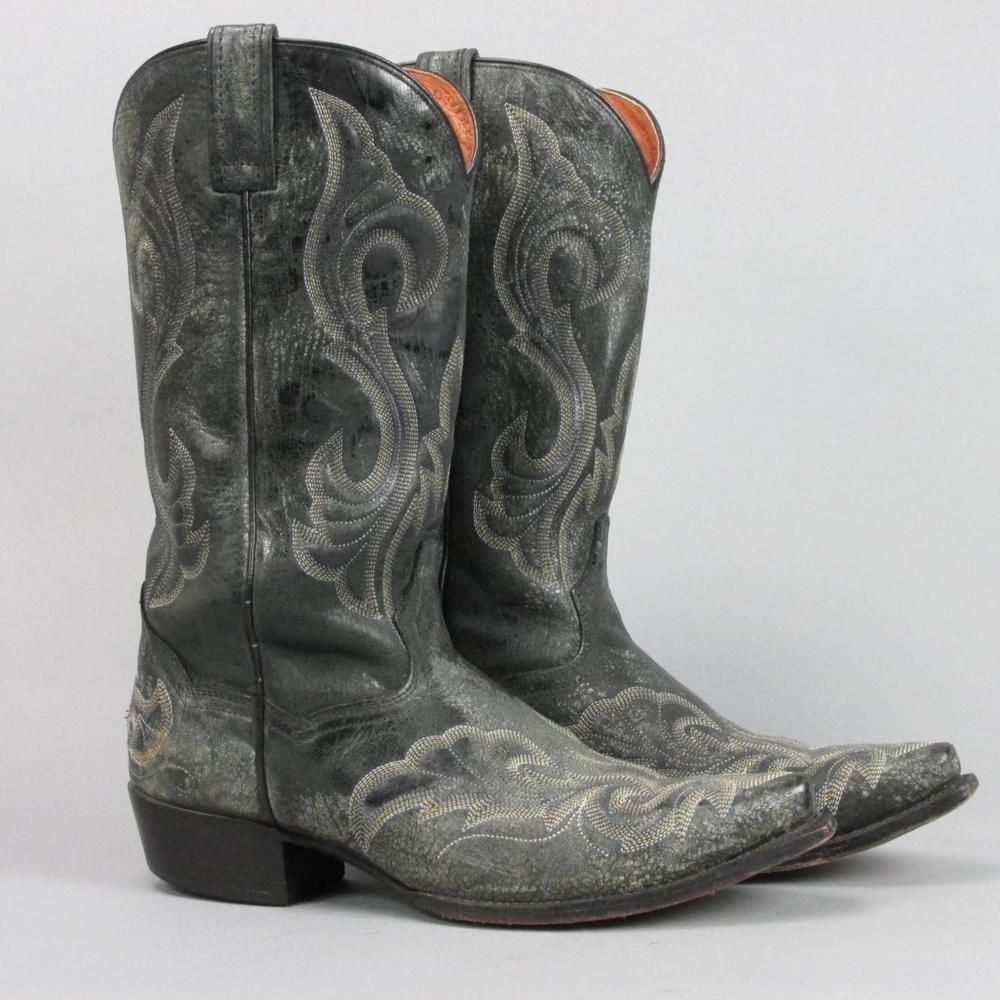 Dan Post Black Leather Cowboy Western Boots Men Size 9