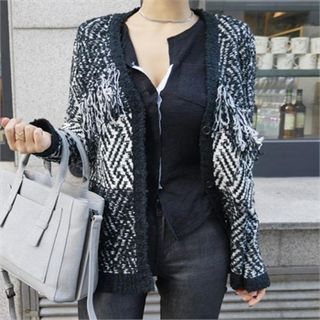 Buy LIPHOP Wool Blend Patterned V-Neck Cardigan at YesStyle.com! Quality products at remarkable prices. FREE WORLDWIDE SHIPPING on orders over US$35.