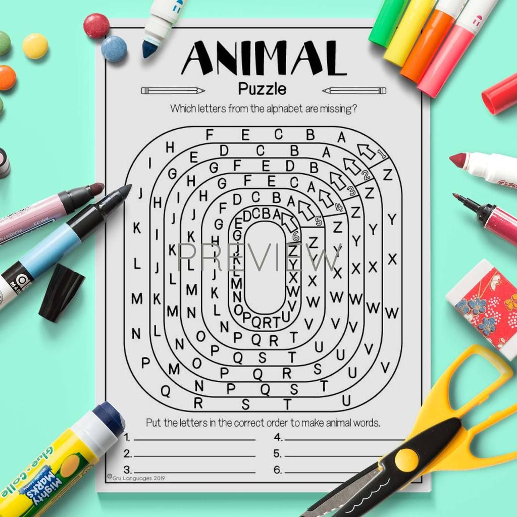 Animal Alphabet Missing Letters Puzzle
