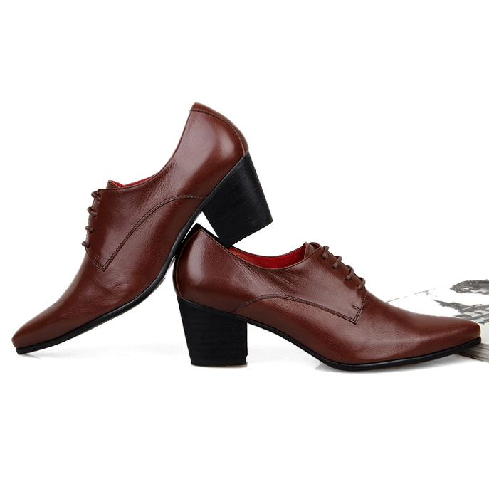 Mens casual dress formal patent leather High cuban Heel lace up oxford shoes New