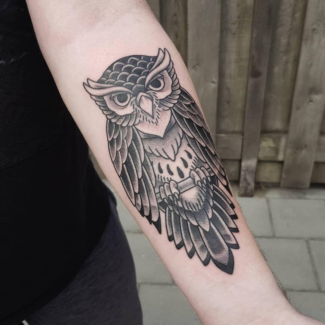 Owl Tattoo By Mitsjtattooartist Owltattoo Owl Tattoo Tattoodesign Neotraditional Tattoos Owl Tattoo Design White Owl Tattoo