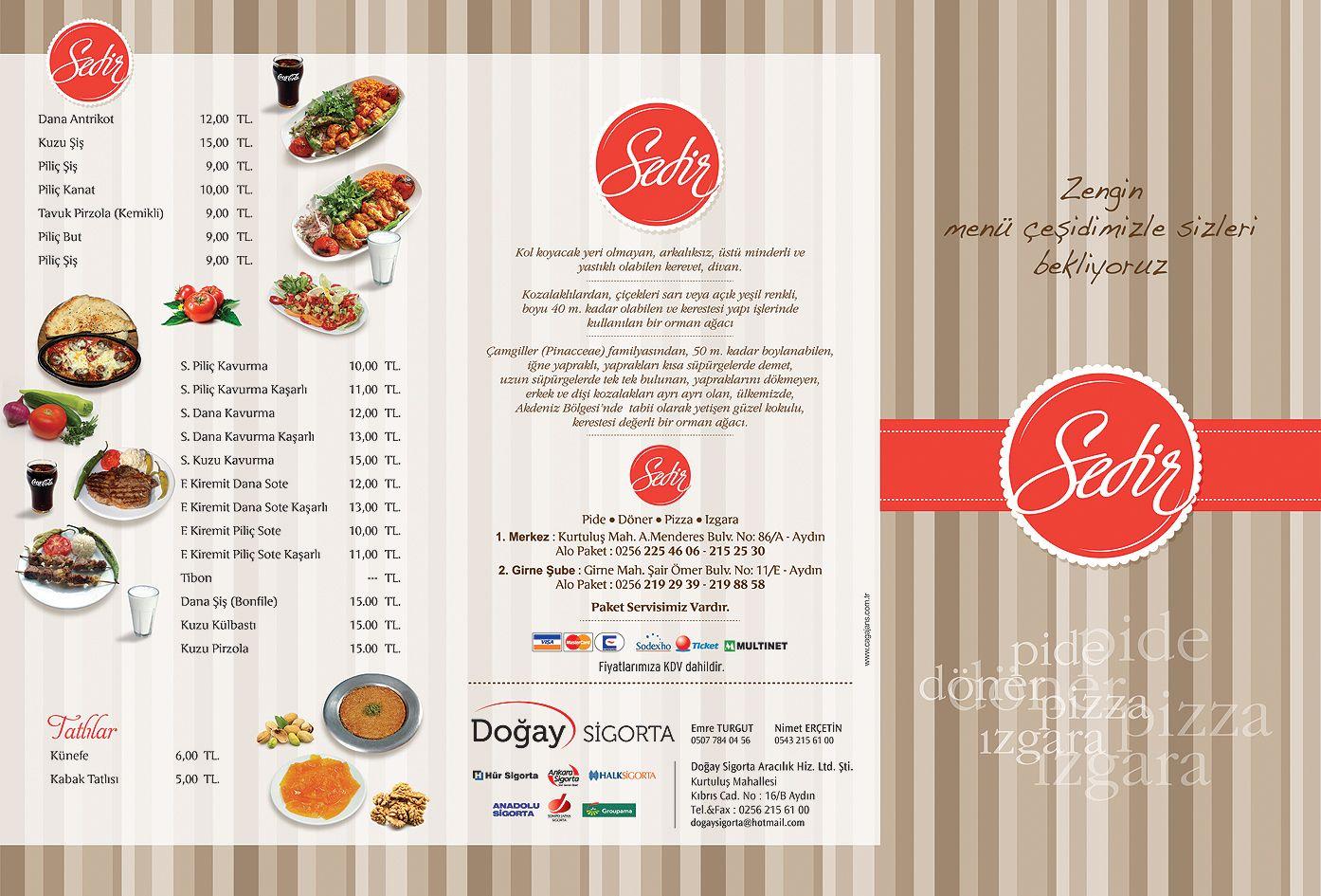 sedir restaurant kurumsal kimlik tasarımı kapsamında logo yenilenmesi ve flayer tasarımı