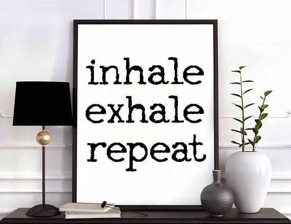 Inhale exhale repeat black white wall decor design motto swiss scandinavian minimal art modern quote nordic #inhaleexhaletattoo