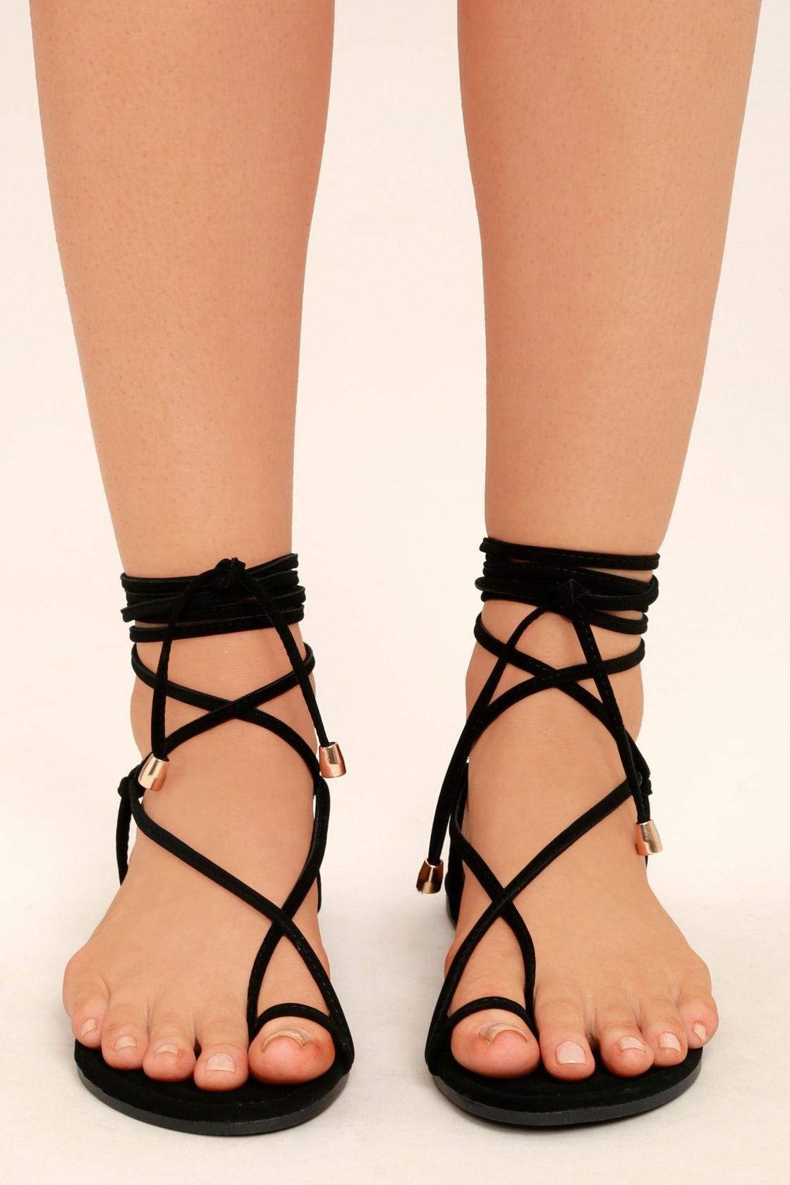 4aa75c7381f2 Micah Black Lace-Up Flat Sandals