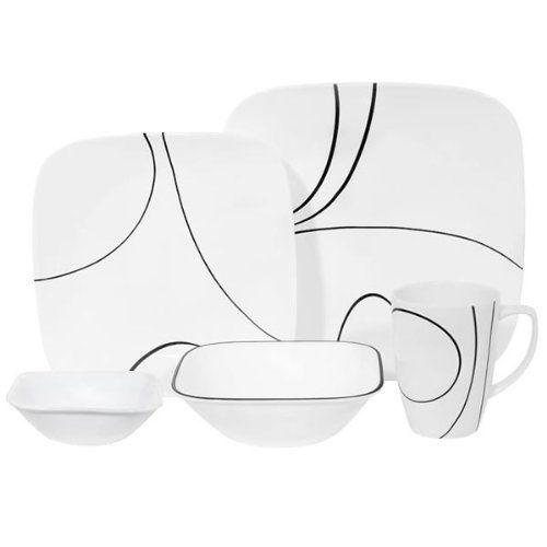 #Kitchen Corelle Square Simple Lines 30-Piece Dinnerware Set Service for 6  sc 1 st  Pinterest & Kitchen: Corelle Square Simple Lines 30-Piece Dinnerware Set ...