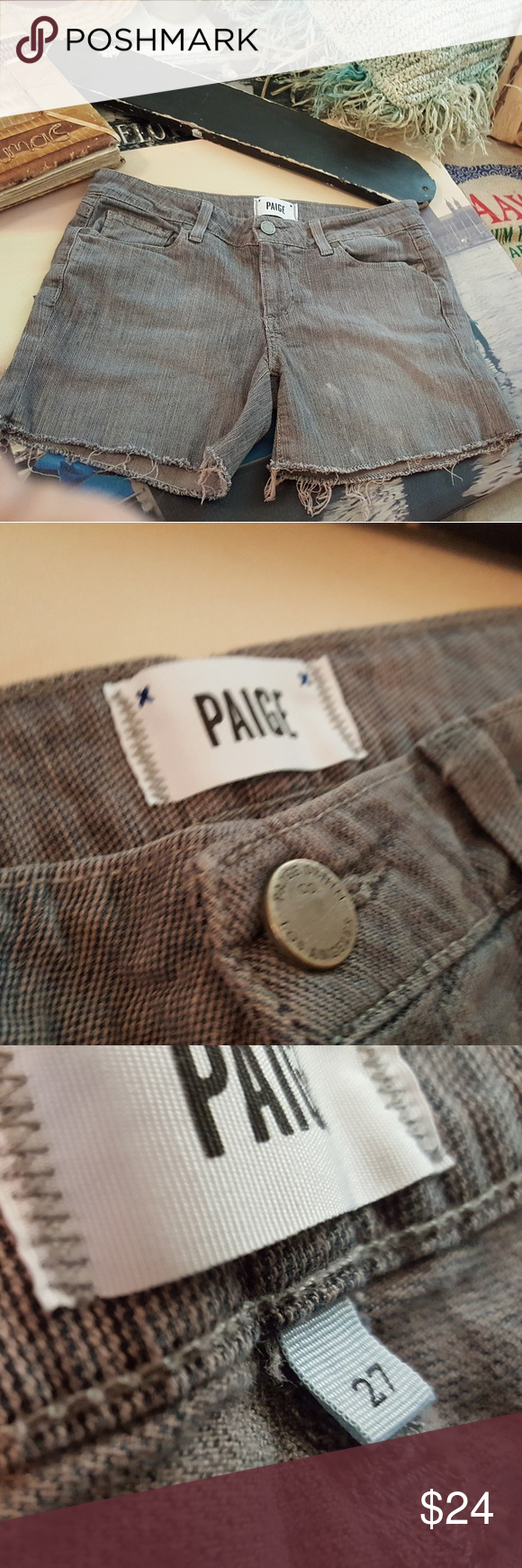 Paige shorts Size 27 Cute pin stripped gray Paige Jeans Shorts Jean Shorts