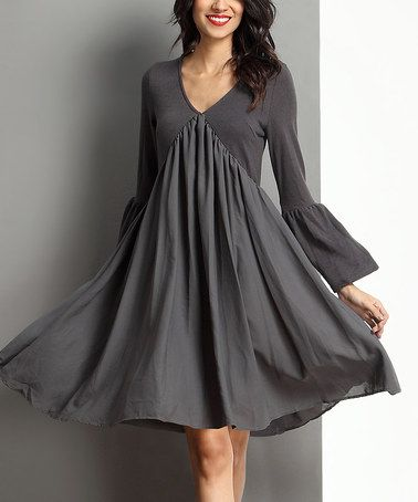Love this Charcoal V-Neck Bell-Sleeve Dress on #zulily! #zulilyfinds ...