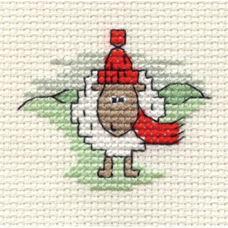 Hobbycraft Christmas Sheep with Red Scarf Mini Cross Stitch Kit ...