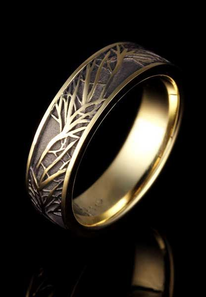 Tree Of Life Wedding Ring In Yellow Gold Cool Wedding Rings Mens Wedding Rings Beautiful Wedding Rings
