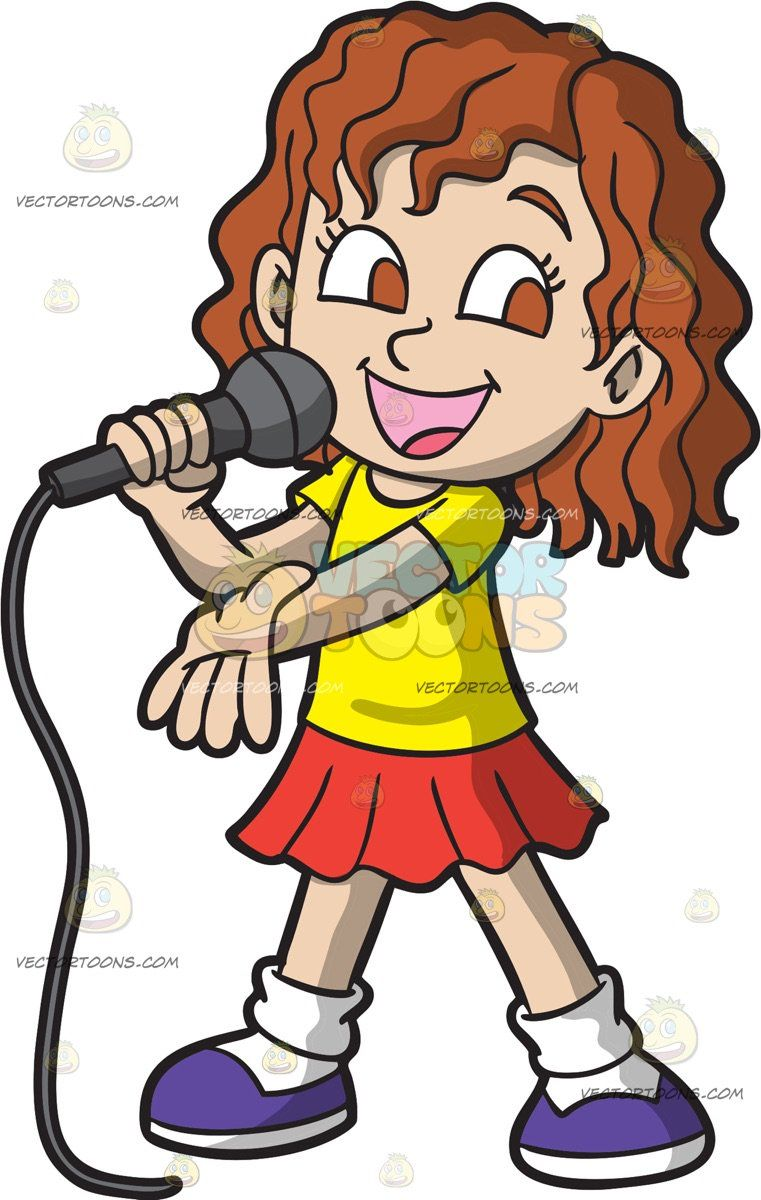 Girl brown hair. A singing her favorite