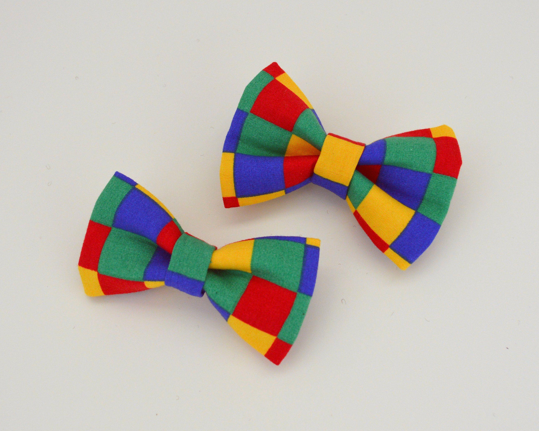 Fun checkers small dog collar bow tie pet fashion dog