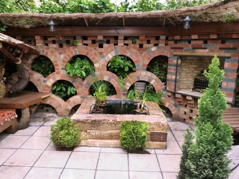 gartenmauer aus ziegeln - alternative zu der stützmauer, Hause und Garten