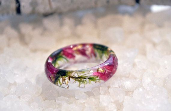 rose resin band ring natural flowering rose perfect romantic gift. Rose resin ring with natural rose petals and golden flakes