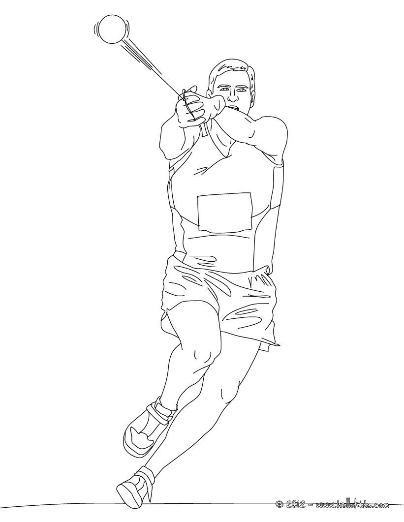 hammer throw athletics coloring page more sports coloring pages on hellokidscom